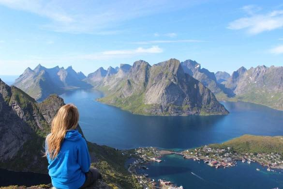 Photo of girl looking at mountains