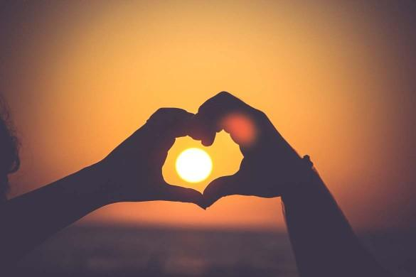 image of love heart in sunset